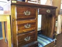 Small dark wood Writing Desk with chair, in good