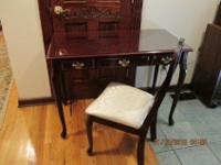 writing desk with chair Cherry with on center drawer in