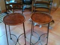 Set of Two - Tall Wrought Iron Bar Stools with Dark