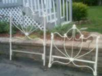 Up for sale great condition wrought iron bed and frame