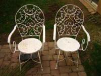 Wrought Iron Bistro Patio Table And Three Chairs For Sale