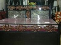 Wrought iron box bed new 6*5 had bord gllas work i am