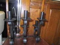 Black Wrought iron candle holders twisted single pillar