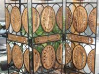 WROUGHT IRON & & CARVED WOOD ROOM DIVIDER - $350. THIS