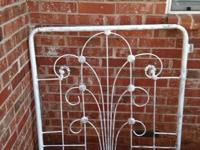 Antique wrought iron gates One white One unfinished 45""