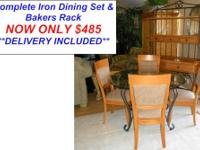 Here is a Beautiful Wrought Iron Glass Top Dining Set