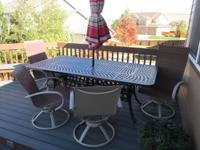Large wrought iron picnic table, umbrella, outdoor