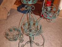WROUGHT IRON PLANT STAND, ADJUSTABLE. ALSO FOLDABLE.