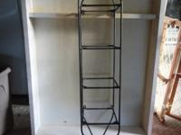 4 shelf wrought iron shelf with 4 glass shelves