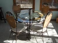 Beautiful wrought-iron table and chairs, perfect for