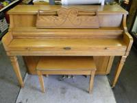 Wurlitzer 2719 Upright Console Piano with Seat Oak, in