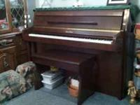 Wurlitzer Console Piano maple or mahogany with seat all