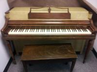 really nice wurlitzer spinet, all tuned up and ready to