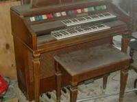 Old Wurlitzer Syntha-Solo Organ and Bench. $25.00. Jim