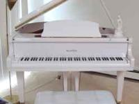WURLITZER WHITE BABY GRAND PIANO 1 OWNER NEVER MOVED