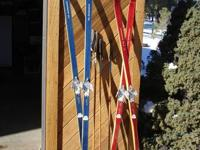 Kongsberg wood cross country skis, includes poles.