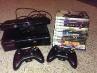 Xbox 360 (250GB), Kinect, 2 controllers, and 11 games.