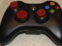 This is a gently used red and black xbox 360 controller