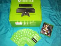 Xbox One with one controller, Kinect, and FIFA 2014 for