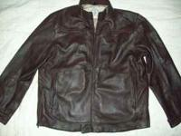 NEW CONDITION MENS XL LEATHER COAT. MADE BY SCOTTS
