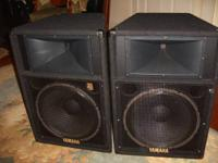 "2 Yamaha S1151V speaker cabinets with 15"" speakers."