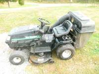 LAWN TRACTOR IN GOOD SHAPE. RUNS GOOD AND CUTS AND BAGS