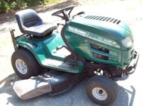 WE ARE SELLING A NICE YARD MACHINE RIDE ON MOWER. THE