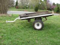 yard wagon tires and wheels good, metal frame and wood