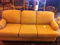 Just In! A Broyhill sofa, light yellow with thin red