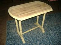 We are selling ayellow rustic painted pine occasional