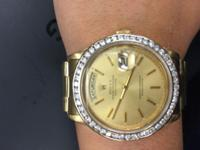YG Men's Rolex AM 18k YG band Almost 3 carat Diamond
