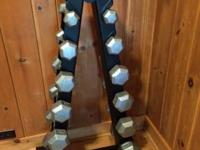 Brand new set of York Iron Pro hex dumbbells 6 sets