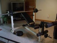Used, like new condition, YORK WEIGHT BENCH WITH LEG