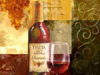Reminiscent of Tuscany, a wine bottle and glass are