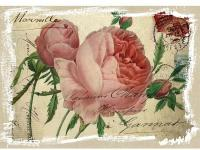 Pink English roses and buds printed on antiqued linen.