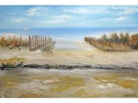 Peaceful impressionistic beach scene painted in muted