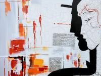 Hand painted Parisian couple's profile an abstract of
