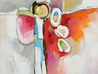 Vibrant hand painted abstract in hues of white, gray,