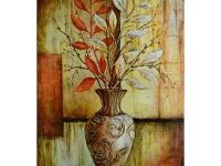 Heavily textured vase with leafed branches painted in
