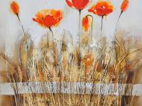 The Poppies in the Field Orange Red I is an original
