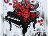Sweet roses exude from a classic black piano. White