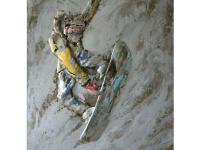 This is a hand painted picture of a snowboarder that