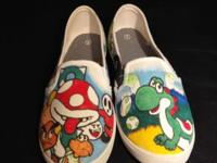 I have a pair of Yoshi's Island hand drawn shoes for