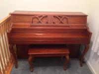 Young Chang F-108 Spinet Piano in satin mahogany