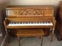 Oak 1993 Young Chang Studio piano with one previous