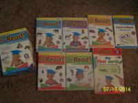 5 DVD's, First Words book, and word cards.   DVD's: