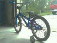 This is a kids blue trek bike with checkered stripe. It