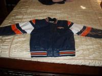 Youth Denver Broncos Sports Varsity Leather Jacket Size
