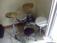 GP Youth Drum Set. Gently used..Black with clear/white