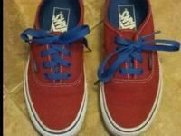 Youth Vans sz. 4.5 youth Red w royal blue trim Worn